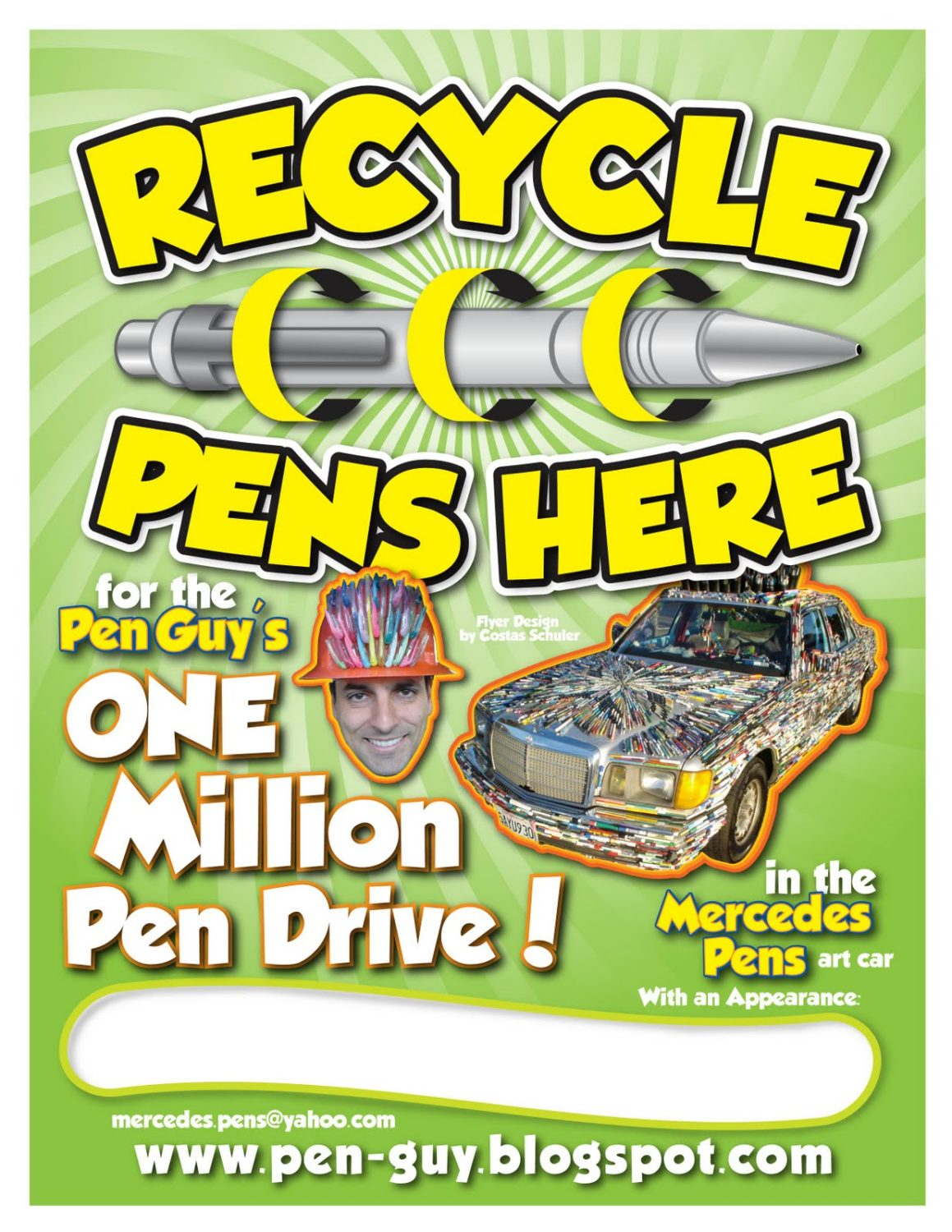 The Pen Guy Recycle Pens Flyer Design by Costas Schuler