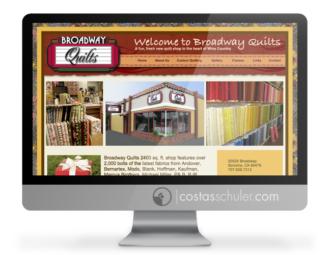 Broadway Quilts Web Site Costas Schuler Graphic Design Branding Expert Santa Rosa